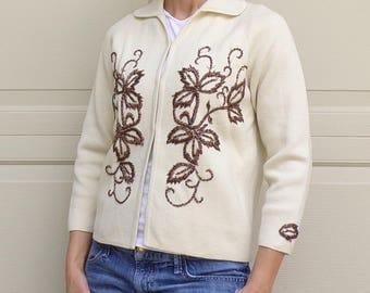 vintage BEADED CARDIGAN SWEATER jacket palio 1960's 60's S