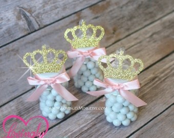Princess Baby Bottle Favors In Blush Pink U0026 Glitter Gold | Set Of 12 |  Additional