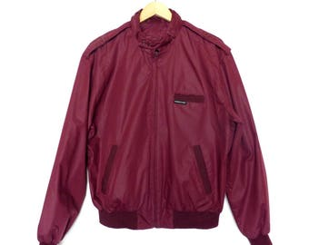 Mens Red Members Only Jacket Size 40 Dark Red Wine Color Vintage Retro Motor Scooter Small