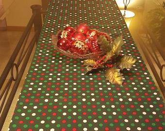Christmas Table Runner,  Polka Dot Christmas Runner,  Festive Christmas Runner