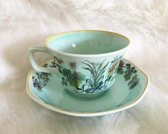 Vintage Tea Cup in Green and Floral English Ironstone / Adams Ming Jade / Oriental Floral