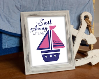 NAUTICAL DECOR, GIRLS nursery, pink navy sailboat, whale bathroom, Hamptons, Kids Ocean Bedroom, navy pink bedding, Baby Nursery, 8x10 print