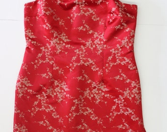 Vintage Red Brocade Shift Dress - Thin Spaghetti straps satin asian style floral embroidered short dress - Medium 38 chest