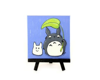 My Neighbor Totoro Art, Miniature Canvas, Totoro Acrylic Painting, Totoro Kids Room Decor, Totoro in the Rain with Leaf Umbrella