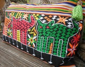 Tribal Cushion Cover , Hand Embroidered Textile Pillow Cover, Folk Art Textile