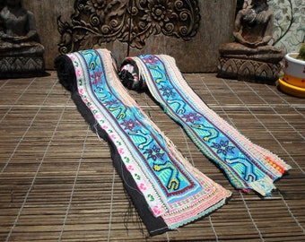 Embroidered Straps, Tribal Textile, Set Of 2, Hmong Textile, Hmong Vintage Textile, Vintage Straps, Embroidered Textile