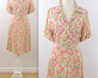 April Cornell Pink Floral Dress - Vintage 1980s Pastel Summer Shirtdress in Medium