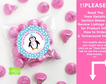 Penguin Valentine Stickers - Valentine Favor Stickers - Valentines Day Stickers - Penguin Valentine Gift Stickers - Emailed or Shipped