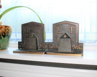 Antique Bronze SIGMA TAU Fraternity Bookends Figural Obelisk OK A&M