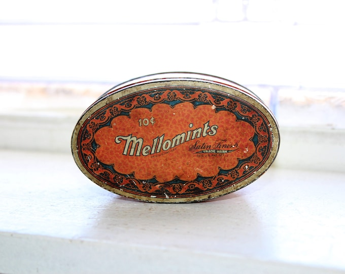 Vintage Mellomints Tin 1930s Candy Tin