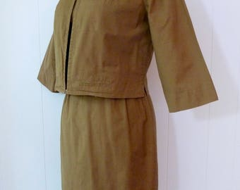 50's Camel Shift Dress and Cropped Jacket Set Sexy Wiggle Short Sleeve Two Piece Suit Slubbed Textured Cotton XS S