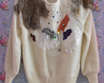 Unique Vintage 1980s Sweater with Fur Patches Lace Sequins Beading Embroidery - Size Medium