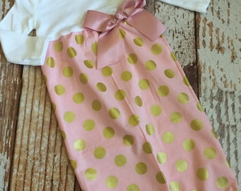 Newborn Layette, Infant Gown, Baby Gown - Blush Pink and Gold Polka Dot