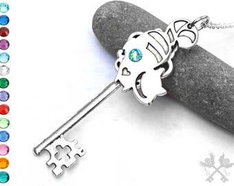 Cheshire Cat Necklace / Alice in Wonderland Cheshire Cat  / Key to my Heart Necklace / Skeleton Key Necklace / Fantasy Key Necklace