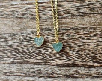 Green Druzy Heart Necklace