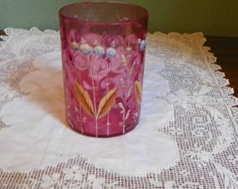 Antique Victorian art glass TUMBLER Juice cups cranberry ruby inverted thumbprint hand painted bell flowers