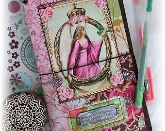 OOAK Fauxdori, Angel Midori, Fabric Collage Fauxdori, Traveler's Notebook, Free Insert!