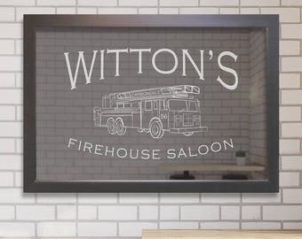 "Personalized Bar Mirror (Firehouse) 24"" x 36"", Custom Firefighter Bar Mirror, Fire Department Bar Mirror, Custom Fire Engine Bar Mirror"