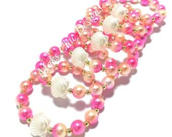 6 Small Beaded Shell Bracelet Party Favors - Girls Pink and Orange Bracelets - Kids Beach Party Bracelets - Goodie Bag Bracelets - Seashell