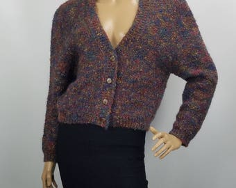 Cropped Cardigan Sweater Vintage 1970s OBR Crown Boucle Yarn Heavy Knit Mohair Blend Size  M 1970s OBR British Crown Colony Of Hong Kong