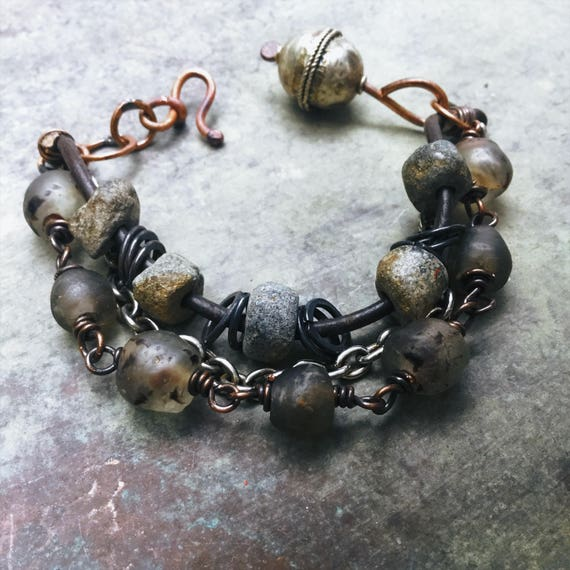 Tribal bracelet with African recycled glass beads, Mali stone beads, Ethiopian silver beads | multistranded bracelet
