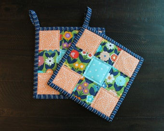 Quilted Pot holder Set, Floral hot pads, Blue, Navy, Orange, Red, Purple, White, Green, Kitchen Decor, Kitchen, hotpad, oven mit, trivet