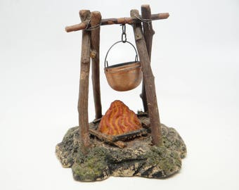 Antique 1930's German Campfire with Pot, Hand Made  for Putz or Christmas Nativity
