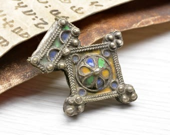 Silver Moroccan pendant,Enamel, Amulet ,Southern cross , Berber cross, Bedouin, Moroccan Jewelry, nort africa