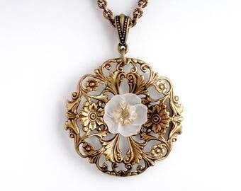 White Flower Necklace, White Art Nouveau Necklace Filigree, Art Nouveau Jewelry, White Floral Necklace Brass, Flower Garden Necklace Ainsley