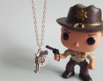 Rick Grimes Charm Necklace, Cowboy Rick, Walking Dead, Cowboy, Gun, Zombie, Handmade Silver Charm Necklace