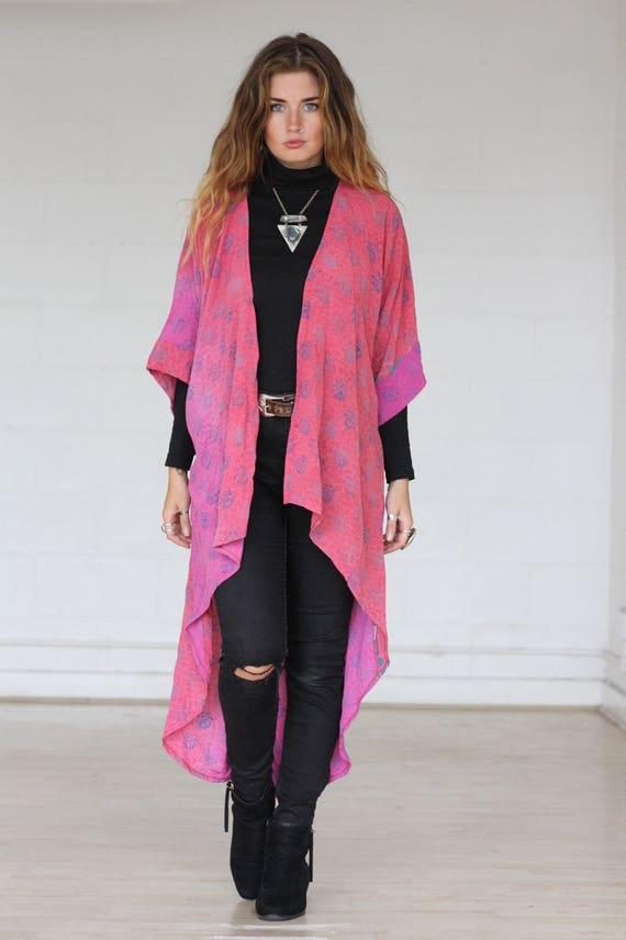 PAISLEY WATERFALL KIMONO - Pink Kimono - Silk Cardigan - Cover Up - Bohemian Kimono - Christmas - Party - Kaftan - Bespoke - 100% silk