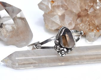 Morning Dew Collection || Smokey Quartz Statement Sterling Silver Cuff // Floral Flowers Crystal Bracelet