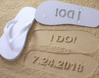 I DO Flip Flops Wedding Date *Check size chart before ordering*