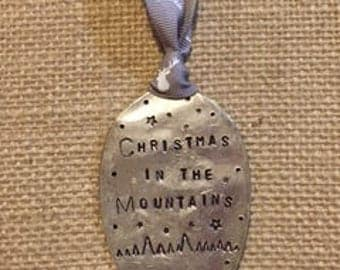 Christmas in the MOUNTAINS Ornament 2017 // Gray and Deer Head Ribbon * LAST ONE * holiday ornament