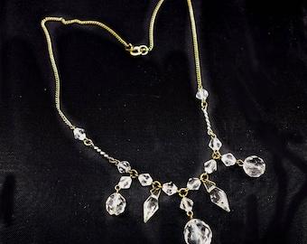 Art Deco Czech Glass Necklace, Crystal  Drop Necklace SALE WAS 78 NOW 54.00