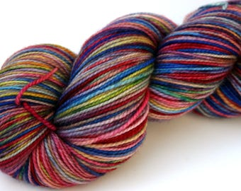 """Kettle Dyed Sock Yarn, Superwash Merino, Cashmere and Nylon Fingering Weight, in """"Watercolors"""""""
