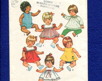 Vintage 1973 Simplicity 5947 Baby Doll Clothes Pattern for 18/20 inch Dolls
