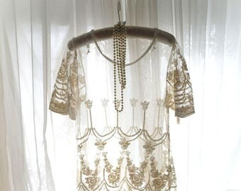 Boho Romantic sheer tulle Lace creem Blouse Shirt Top  Romantic Lolita Princess gypsy bohemian ,short sleeves