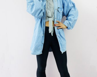 Vintage Wrangler Oversized Boyfriend Acid Stone Wash Press Stud Denin Shirt Blouse Top