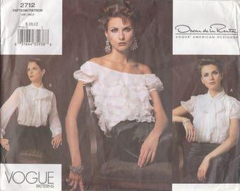 Oscar de la Renta Blouse Pattern Vogue 2712 Sizes 8 10 12 Uncut