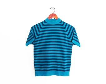 vintage t shirt / striped t shirt / striped mock neck / 1960s blue striped mock neck sweater shirt Small