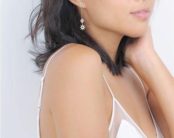 Long Gold Starburst Drop Threader Earrings - Chain Earrings