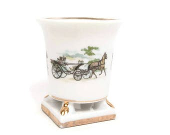 Vintage Toothpick Holder Horse and Carriage Urn Shaped Bone China Gilt Trim Trinkets White Planter Vanity Cup