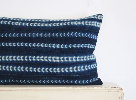 "Vintage indigo shibori African mudcloth pillow cushion cover 16"" x 24"""