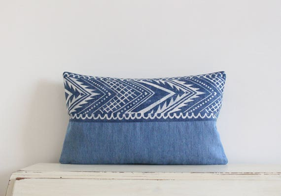 "Block printed chevron and denim pillow cushion cover 12"" x 20"""