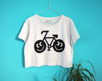 Happy Bike Cropped T-shirt, Bicycle T-shirt, Women's Crop Top, Summer Tee, Festival T-shirt, Graphic Tee, Cute Boxy Crop Top, Happy T-shirt
