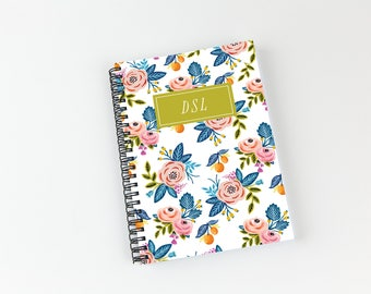 Writing journal, soft cover, book, blank spiral notebook, sketchbook, paper for notes, custom - bright watercolor flowers pattern