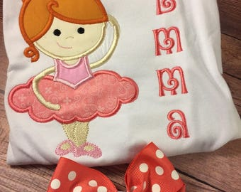 Custom Ballet Ballerina Embroidered Shirt;Girl Birthday Shirt;Ballet Slippers;Personalized Shirt;Birthday Gift;Christmas Gift;Dance Shirt