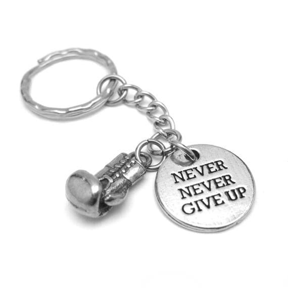Boxing Glove + Never Never Give Up Keychain - Fitness Motivation - Gifts for Boxers - Motivational Gifts for Men or Women - xmas gift ideas