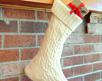 Hand Knit Christmas Stocking - Hand Knitted Christmas Stocking - White Christmas Stocking - Hand Made Celtic Cabled Xmas Stocking